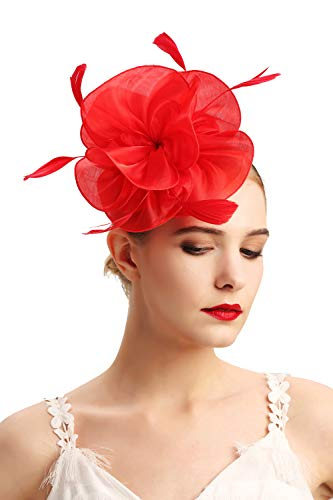 Red Hat Fashion - Czioe Flower Cocktail Tea Party Headwear Feather Fascinators Top Hat for Girls and Women(2-red)