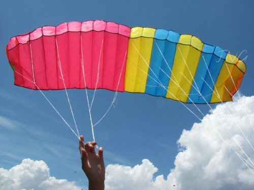 Sky Touch 3M Tricolor Dual-line Control Parafoil Parachute Stunt Sport Nylon Kite, with Handle & String, Park Beach Garden Fun - Nylon Stunt Kite
