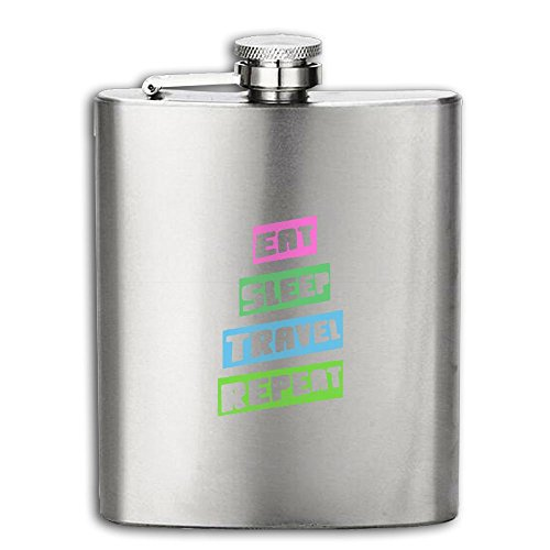 Eat Sleep Travel Repeat Stainless Steel Pocket Flagon Shot Flask Hip Flask Wine Pot 6OZ