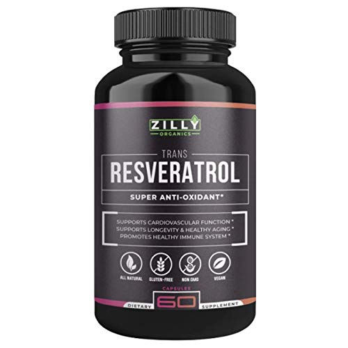 Zilly Resveratrol Supplement - Potent 1400mg Antioxidant Formula with Grape Seed - Natural Trans-Resveratrol Pills for Anti-Aging, Weight Loss, Heart Health - 60 Vegan Capsules