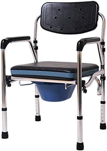 GBX Beweglich Faltbare Durablefolding Potty Wc Stuhl, Medical Kopfendecommode Stuhl | Mit Antimicrobial Schutz | Badezimmer Sicherheits-Rahmen Wc-Sitz | Mit Rückenlehne Und Armauflagen,Schwarz