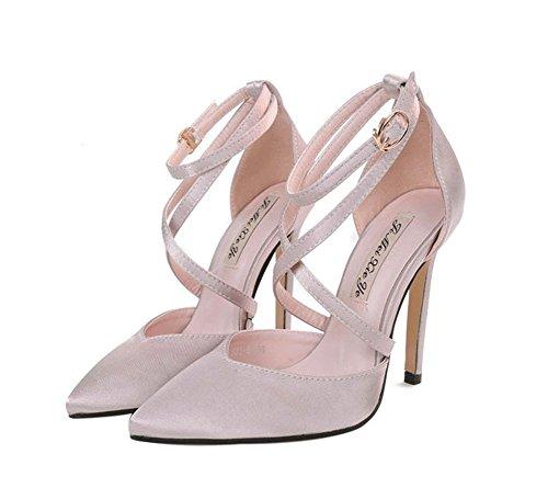 pour taille Rouge Talons Couleur Shallow en femmes Bouche 40 Chaussures Ceinture satin pointue fin croisée Boucle Rose hauts LBDX Talon qawIzTxw