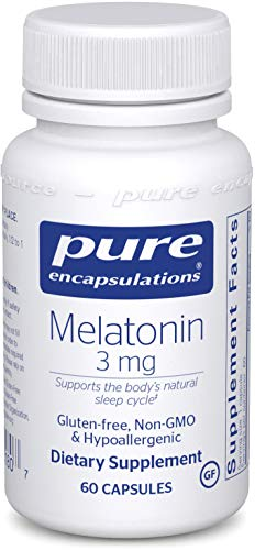 Pure Encapsulations - Melatonin 3 mg - Hypoallergenic Supplement Supports the Bodys Natural Sleep Cycle* - 60 Capsules