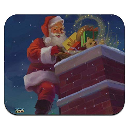 (Christmas Holiday Santa Going Down The Chimney Low Profile Thin Mouse Pad Mousepad 9.8x11.8 inch)