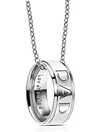 Love you Dad Mom Stainless Steel Necklace for Men Women Dad Birthday Gifts Jewelry Father's Day Gift
