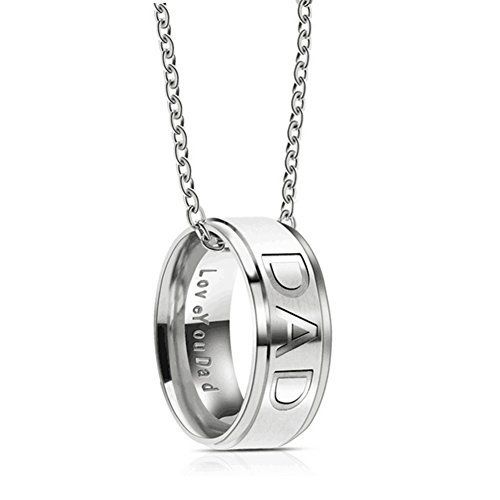 Silove Love you Dad Stainless Steel Necklace for Men Dad Birthday Gifts Jewelry Father's Day Gift (Silver)