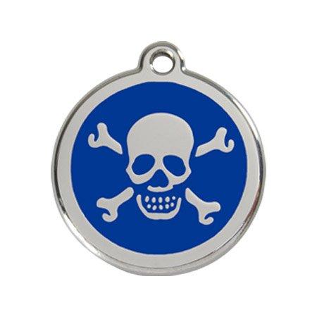 Red Dingo Skull & Cross Bone Enamel Dog Tag Navy Blue - Small