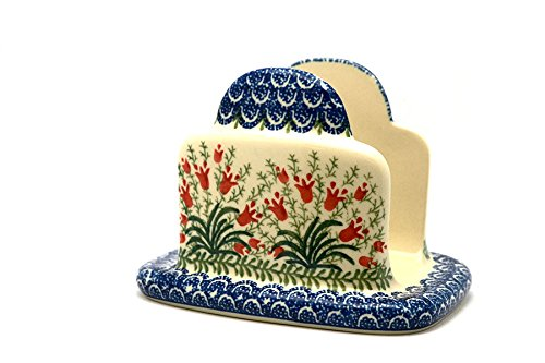 Polish Pottery Napkin Holder - Crimson (Polish Pottery Napkin Holder)