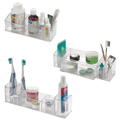 InterDesign 42930-Parent Med+ -Makeup and Medicine Cabinet Organizer-Set of 3:, Clear from InterDesign