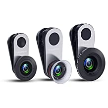 Cell Phone Camera Lens, Fuleadture 0.65X Wide Angle + 180° Fisheye + 12-24X Macro Lens Kit with Universal Clip for iPhone 8, Samsung S8 and Other Devices