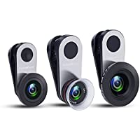 iPhone Camera Lens, Gobuy Mart 0.65X Wide Angle + 180° Fisheye + 12-24X Macro Cell Phone Camera Lens Kit with Universal Clip for iPhone 8, Samsung S8 and Other Devices
