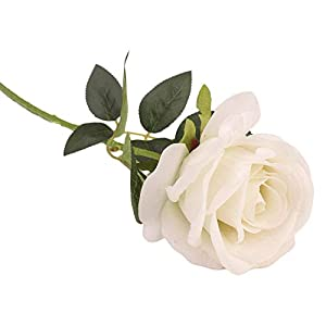 Rm.Baby 1Pcs Artificial Fake Flowers Rose Floral Real Touch Looking PU Material for Party Wedding Decor, Garden Craft Art,Office Centerpiece Home Decor(Vase not Included) 27