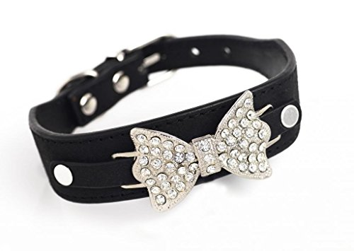 Enjoying Pet Velvet Rhinestone Necklace Bling Dog Collars with Silver Bow-Knot Black -Extra Small