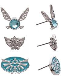 Nintendo The Legend of Zelda Triforce Navi Fairy Earrings 3 Pack Set , Silver Tone , One Size