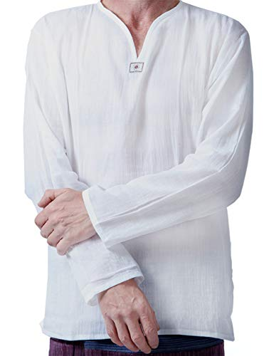 Men Renaissance Medieval White Linen T Shirt V Neck Hippie Pirate Beach Kurta Yoga (Medium) -