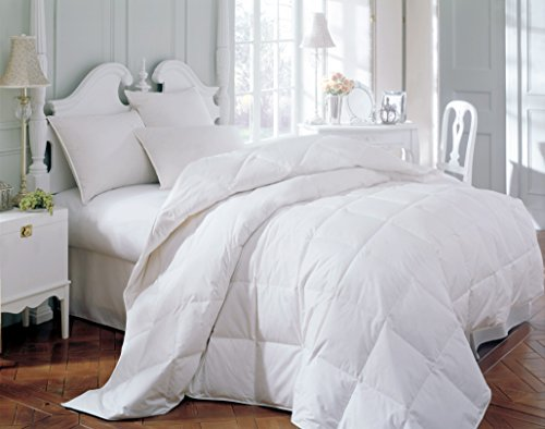 Grand Linen Comforter Duvet Insert Quilted with Corner Tabs - Hypoallergenic, Siliconized Plush Fiberfill. Boxed Stitched Goose Down Alternative Bedding (King, White)