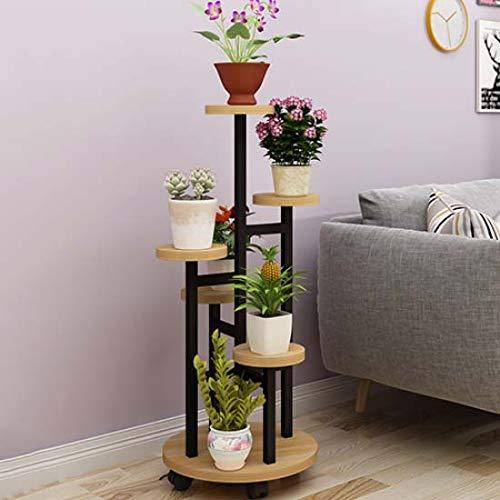FTFTFTF Flower Stand, Multi-Layer Flower Stand Stepped Flower Shelf Wheel Study Office Flower Shop Living Room,5,13042cm