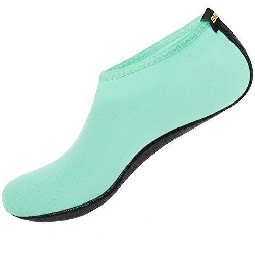 SHOESKISS Barefoot Water Skin Shoes Aqua Socks for Beach Swim Surf Yoga Exercise (3. L(W:8-9, M:7-8), Black)