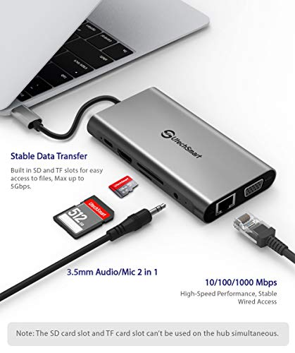 USB C Hub, UtechSmart 11 in 1 USB Type C Adapter with Gigabit Ethernet Port, Pd Type C Charging Port, 4K HDMI, VGA, SD TF Card Reader, 4 USB Ports and Audio Mic Port Compatible for MacBook [Upgraded] by UtechSmart (Image #4)