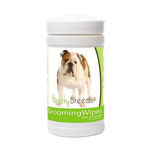 Healthy Breeds Dog Multi-Purpose Grooming & Deodorizing Wipes for Bulldog  - OVER 200 BREEDS - Cleans Paw Pads Skin Folds Armpits Face Butt - 70 Count - Aloe & Oatmeal for Sensitive Skin (Best Pug Face Wipes)