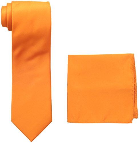 Stacy Adams Men's Satin Solid Tie Set, Orange One Size