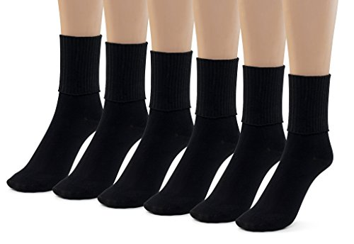 Silky Toes 6 Pk Triple Roll Bamboo School Socks, Turn Cuff Girls Boys Casual Crew Socks (Large (9-11), Black (6 Pack)) - Lightweight Cuff Socks