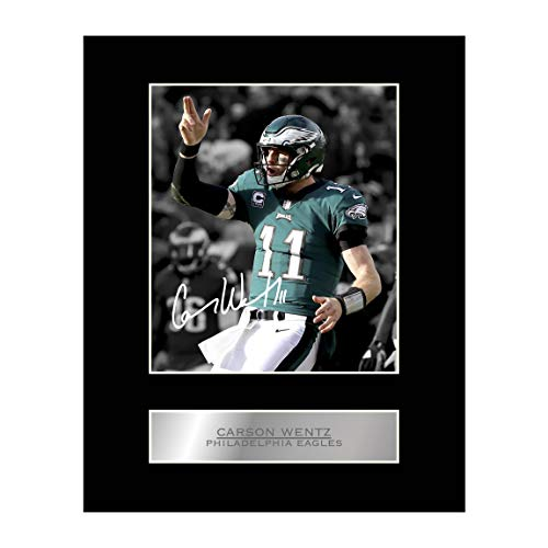 Carson Wentz Signed Mounted Photo Display Philadelphia Eagles #2 NFL Autographed Gift Picture Print