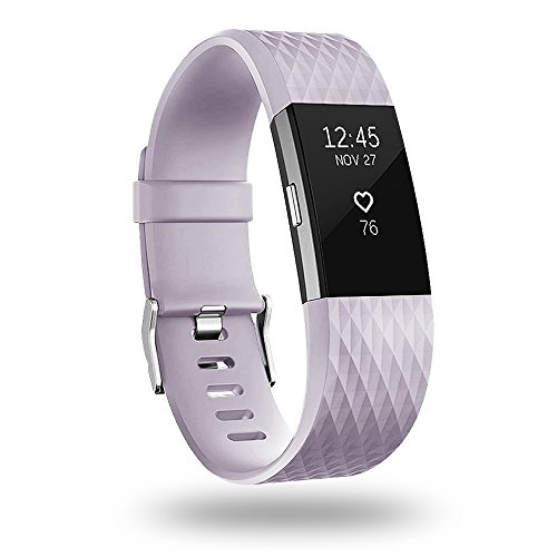 P OY Replacement Bands Compatible for Fitbit Charge 2, Classic & Special Edition Sport Wristbands, Small Lavender, 1PC (Fitbit Charge 2 Lavender Rose Gold Small)