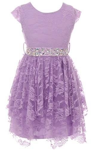 Big Girl Short Sleeve Floral Lace Ruffles Easter Summer Flower Girl Dress Lavender 12 JKS 2095 ()