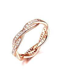 Presentski 925 Sterling Silver Rose Gold Plated Engagement Ring with Cubic Zirconia Weave Design Size 5-10