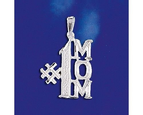 - Sterling Silver #1 Mom Pendant Number One Super Mother Charm Solid 925 Silver New - Silver Jewelry Accessories Key Chain Bracelet Necklace Pendants