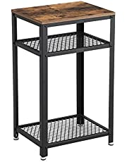 VASAGLE Bryce Side Table, End Telephone Table with 2 Mesh Shelves