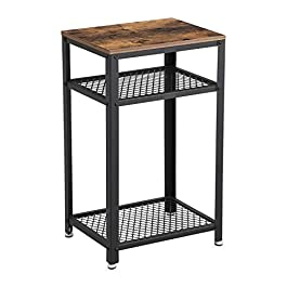 VASAGLE Industrial Side Table, End Telephone Table with 2-Tier Mesh Shelves, for Office Hallway or Living Room, Wood Look Accent Furniture with Metal Frame ULET75BX