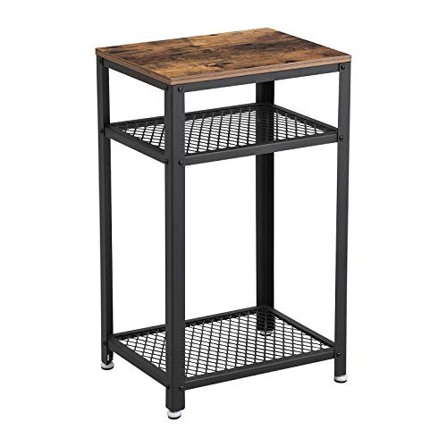 (VASAGLE Industrial Side Table, End Telephone Table with 2-Tier Mesh Shelves, for Office Hallway or Living Room, Wood Look Accent Furniture with Metal Frame)