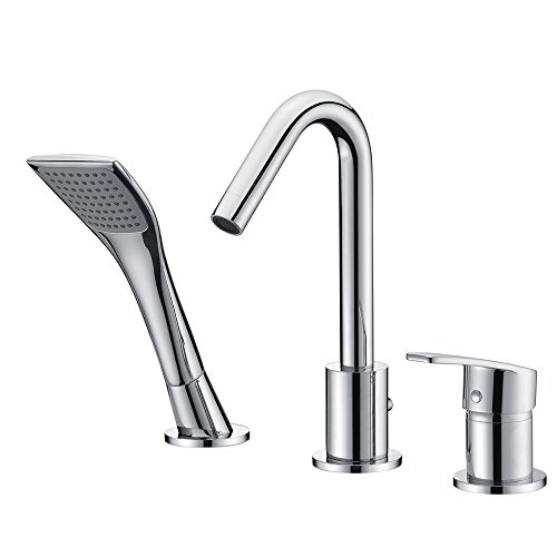 SURNORME Bathtub Faucet Single Handle Widespread 3 Hole Bathtub Faucet Vanity Basin Mixer Tap with Pull Out Shower Head (Chrome) ()