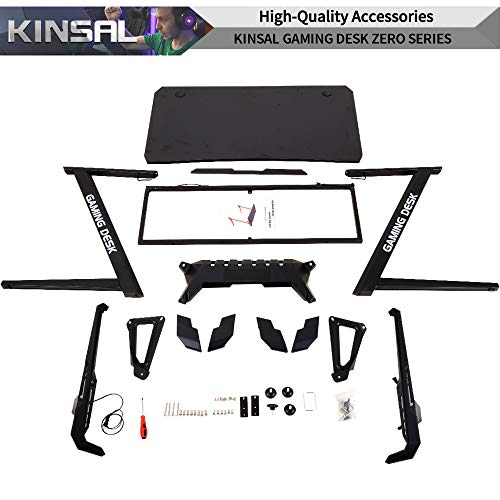 Kinsal Z-Shaped Gaming Desk Computer Desk Table with Fighting RGB LED Ambience Lighting and Large Size Mousepad, Racing Table E-Sports Durable Ergonomic Comfortable PC Desk (Grey) by Kinsal (Image #6)