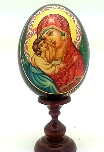 (Hand Painted Holy Mother RELIGIOUS Icon EGG with stand WOOD small)