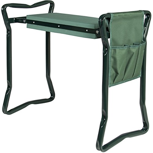 Best Choice Products Foldable Garden Kneeler and Seat With Bonus Tool Pouch Portable Stool EVA Pad (Bench Pads Garden)