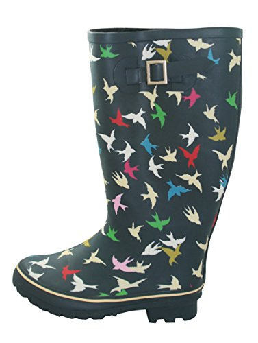 Wide Calf Wellies - Up to 18 inch calf - Colored  Birds, Stripes, and Dots