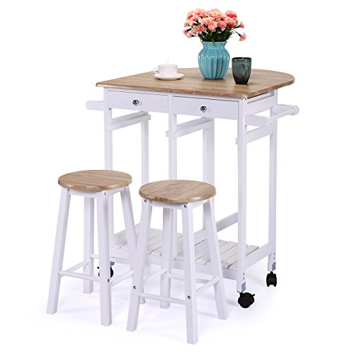 Tobbi Oak Wood Kitchen Island Rolling Trolley Cart Storage Dinning Table Stools Set White Finish by Tobbi
