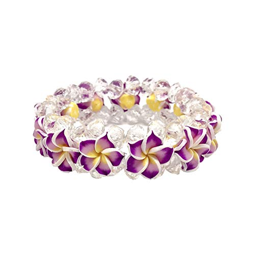 Zero Gravity Hawaii Hawaiian Purple Plumeria Flower Bead Elastic - Hawaiian Bracelet Plumeria