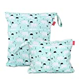 Damero 2Pcs Cute Travel Baby Wet and Dry Cloth Diaper Organizer Bag (Small+Large,Bear)