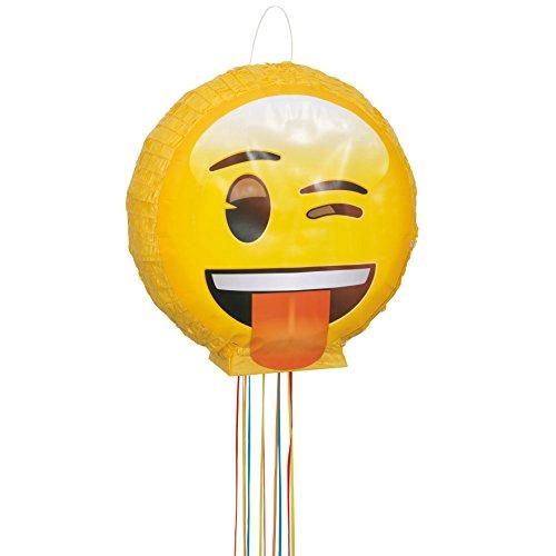 Pull Game Party Pinata - Emoji Party Supplies - Wink Emoji Pinata Party Game, Pull String