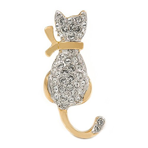 Avalaya Small Two Tone Crystal Cat Brooch (Gold/Silver Tone Metal) - 32mm L