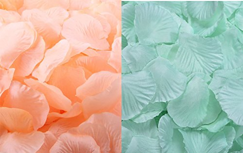 Qingsun 2000 Pcs Artificial Flowers Silk Rose Petals Wholesale Home Party Ceremony Wedding Decoration Mint Green +Peach
