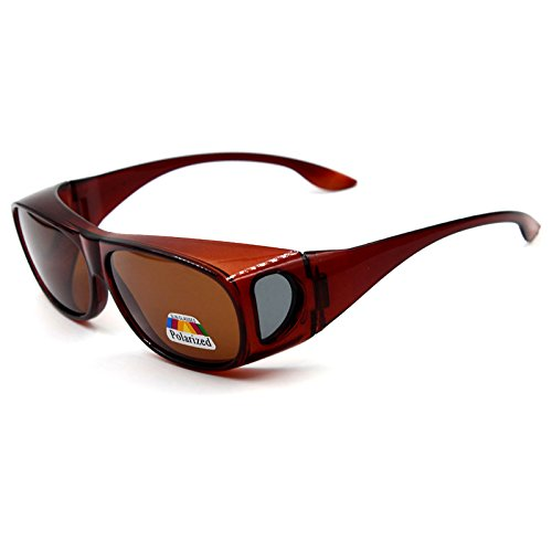 Wear Over sunglasses for men women Polarized lens,fit over Prescription Glasses UV400 (A-Dark brown, as the - Prescription Pictures