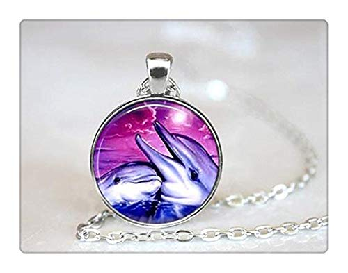(Dolphin Necklace Glass Tile Necklace Glass Tile Jewelry Dolphin Jewelry Fish Jewelry Silver Jewelry Black Jewelry Silver Necklace)