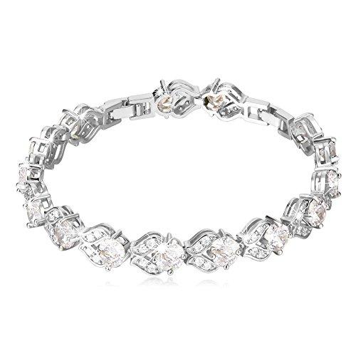 U7 Hot Fashion Diamond Accented Crystal Bracelet Platinun Plated Link CZ Tennis Bracelet -