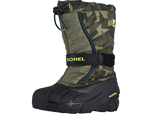 Sorel Kids Boy's Flurry Print (Toddler/Little Kid/Big Kid) Hiker Green/Black 1 6 Big Kid