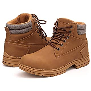 WHITIN Men's Mid Soft Toe Leather Insulated Work Boots Construction Rubber Sole Roofing Waterproof for Outdoor Hiking Winter Snow Cold Weather Nubuck Water Proof Yellow Size 10